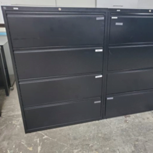 This is a picture of 4 drawer lateral file cabinets.