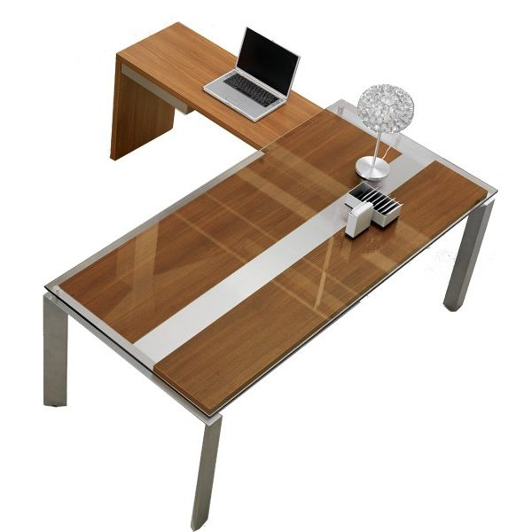 Gautier Sliver -  L-Shape Desk - Glass Top