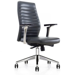 OFW Oggi Black Ribbed Mid-Back Chair