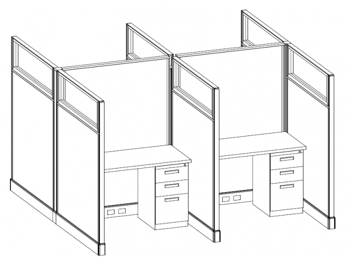 (PO-SYS-0007) Open Plan 4' x 4' Cubicle with Glass