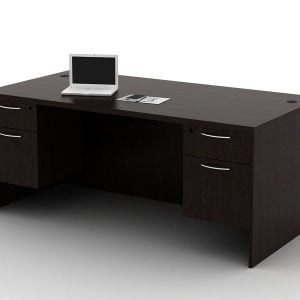 OFW TL Double Pedestal Rectangular Desk with BF 36x72