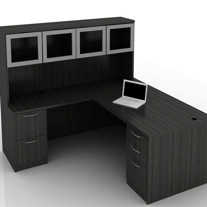 OFW TL L-Shape Rectangular Desk with Glass Hutch BBF & FF 36x72