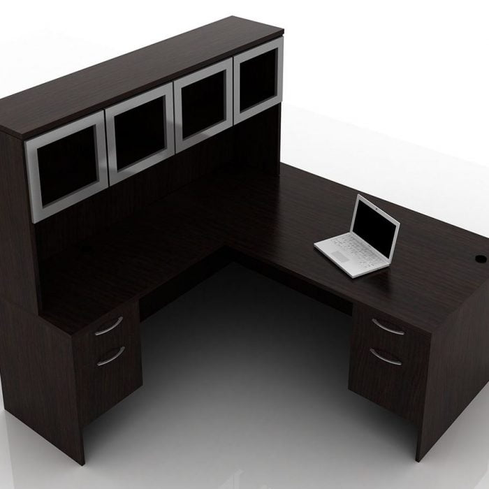 OFW TL L-Shape Rectangular Desk with Glass Hutch BF 36x72