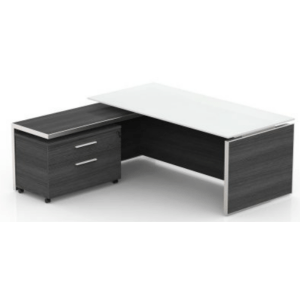 This is a picture of an OFW VL L-Shape Glass Top Executive Desk.