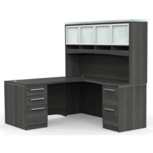 This is a picture of an OFW VL L-Shape Desk with Glass Hutch.