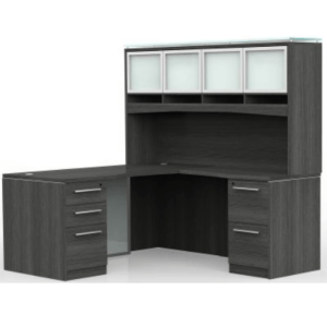 This is a picture of an OFW VL L-Shape Desk with Modesty and Glass Hutch.