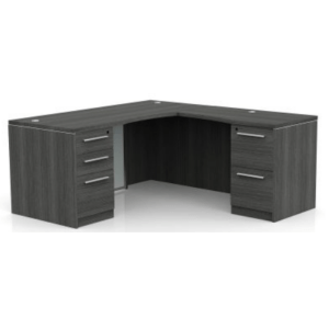 This is a picture of an OFW VL L-Shape Desk with Glass Modesty.