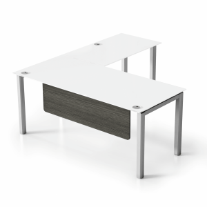 "VL 5'6"" x 6' Glass L-Shape Desk"
