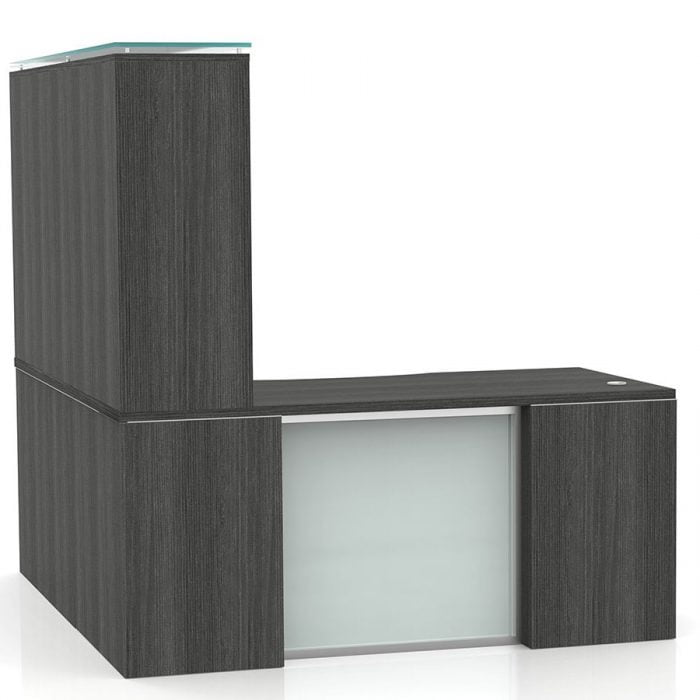 OFW VL L-Shape Desk with Modesty and Glass Hutch