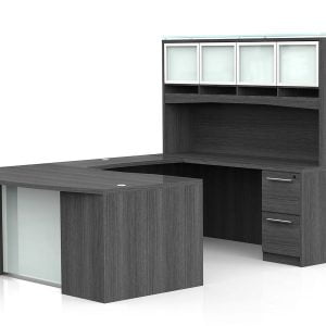 OFW VL U-Shape Desk with Glass Modesty and Hutch